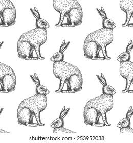 Seamless vintage pattern with ink hand drawn hare illustrations. Vector Easter background.