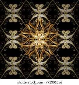 Seamless vintage pattern on black colors with golden elements. Christmas, snowflake, new year 2018.