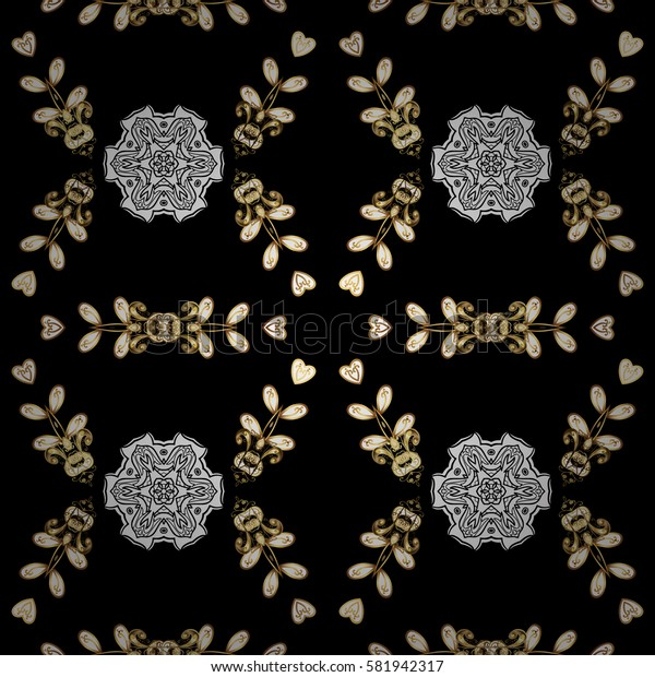 Seamless vintage pattern on black background with golden elements. Christmas, snowflake, new year. Golden pattern on black background with golden elements.