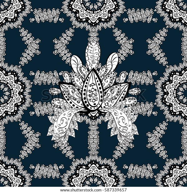 Seamless vintage pattern on blue background with whiteen elements. Christmas, snowflake, new year. Golden seamless pattern on blue background with white elements.