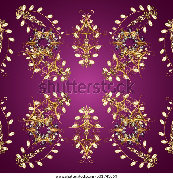 Seamless vintage pattern on purple background with golden elements. Christmas, snowflake, new year 2018.