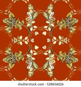 Seamless vintage pattern on red and brown background with golden elements.