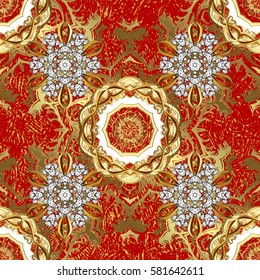 Seamless vintage pattern on red background with golden elements and with white doodles. Christmas, snowflake, new year.