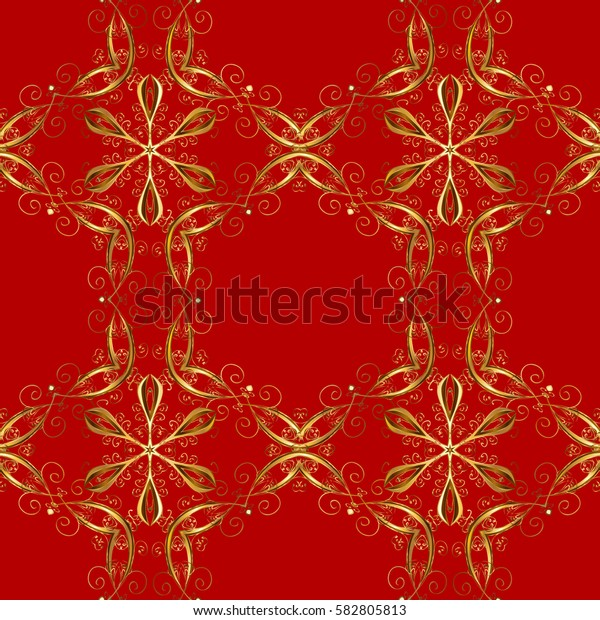 Seamless vintage pattern on red background with golden elements. Christmas, snowflake, new year. Golden pattern on red background with golden elements.