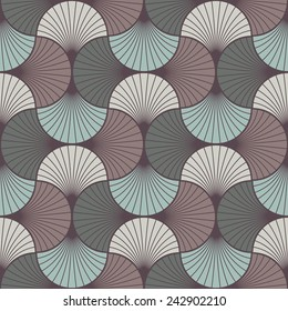 seamless vintage pattern of overlapping arcs in art deco style. each color in separate layer, easy to change.