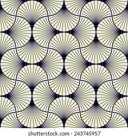 seamless vintage pattern of overlapping arcs in art deco style.