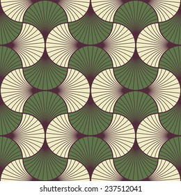 seamless vintage pattern of overlapping leaves in art deco style.