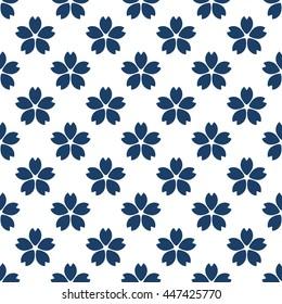 Seamless vintage pattern with sakura flower illustration. Vector textured Japanese design. Web page background.