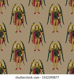 Seamless vintage pattern with silhouettes of winged warrior angels.