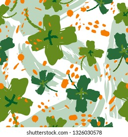 Seamless vintage pattern for St. Patricks day with four-leaf clovers. St. Patricks Day poster. Clover pattern