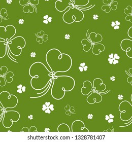 Seamless vintage pattern for St. Patricks day with leaf clovers. St. Patricks Day poster. Clover pattern