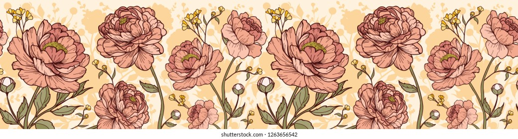 Seamless vintage peony flower with buds, small flower, leaves and silhouette background. Cartoonish style. Horizontal border. Vector illustration. Perfect for print, textile, cards and apparel.