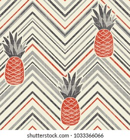 Seamless Vintage Striped pattern with pineapples. Abstract tropical illustration. Seamless chevron background. Vector