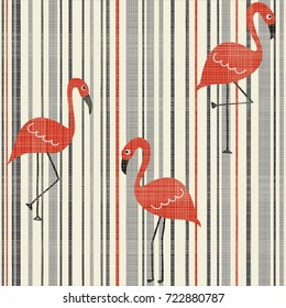 Seamless Vintage Striped pattern with red flamingo. Abstract tropical illustration. Vector