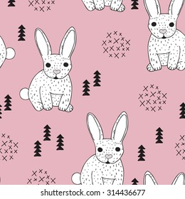 Seamless vintage style bunny kids illustration pattern adorable scandinavian style animal theme pink background pattern in vector