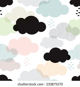 Seamless vintage style clouds love rain illustration background pattern in vector