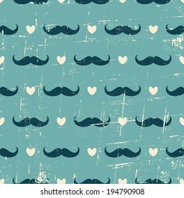 Seamless vintage style pattern with cute mustaches and hearts against blue background.