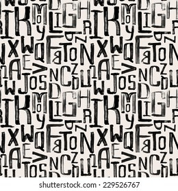Seamless vintage style pattern, uneven grunge letters of random size, wrapping paper pattern