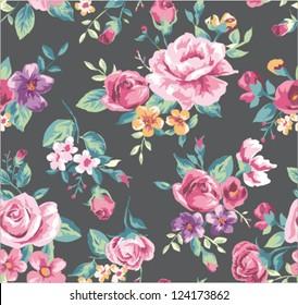 seamless vintage tropical flower pattern vector