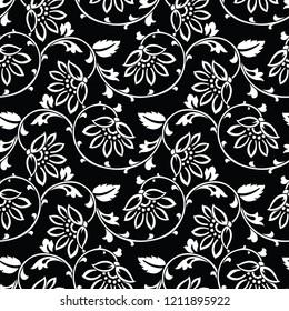 Seamless vintage vector floral pattern