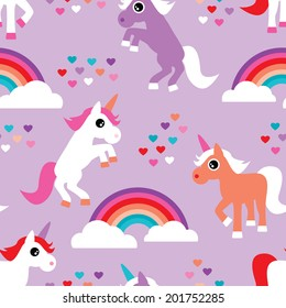 Seamless violet rainbow and dancing unicorn love kids background pattern print in vector