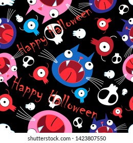 Seamless vivid funny Halloween pattern made of cats and skulls against a dark background