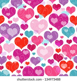 Seamless vivid valentine pattern with decorative colorful hearts and curls (vector EPS 10)