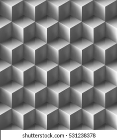 Seamless volumetric glossy grey cube pattern. Bright repeating geometric background. Optical illusion. Necker cubes. Isometric. Colorless fond. Vector modern texture.