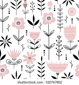 Seamless vrctor floral pattern with pink flowers