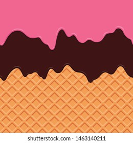 Seamless wafer and dripping strawberry chocolate cream repeatable vector art background