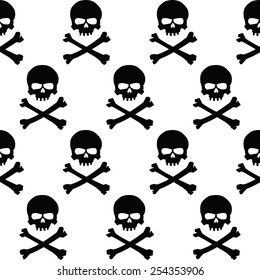 Seamless wallpaper background with black and white skulls.