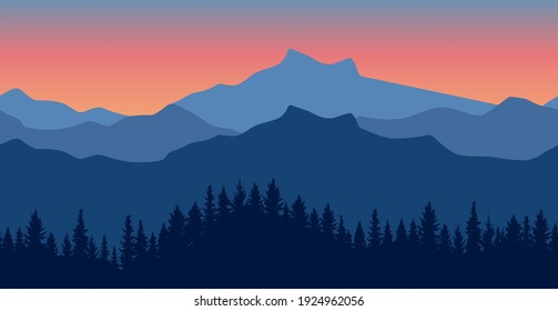 Seamless wallpaper of beautiful nature. Silhouette of dark blue forest on background of mountains Vector illustration.
