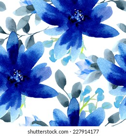 Seamless wallpaper with blue flowers, watercolor illustration