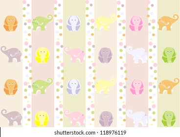 Seamless  wallpaper with elephants for a child's room. Vector illustration