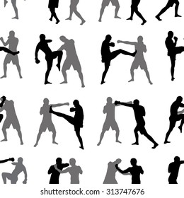 Seamless wallpaper from fans for silhouettes for boxing