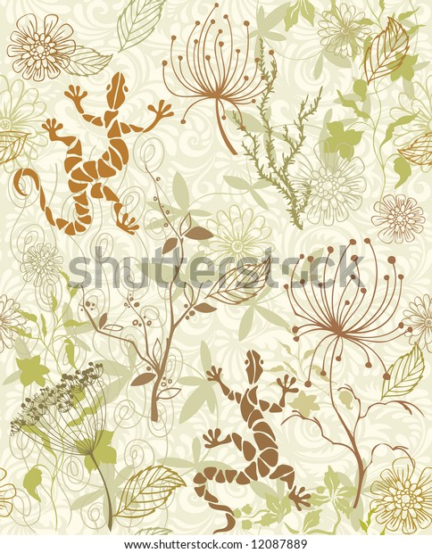 Seamless wallpaper with flowers and lizards