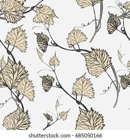 Seamless Wallpaper. Grapevine seamless pattern. Abstract pink leaves on a bright background