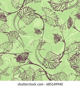 Seamless Wallpaper. Grapevine seamless pattern. Abstract purple leaves on a green background