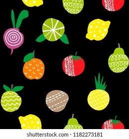 Seamless wallpaper of healthy food isolated on black background. Vector endless pattern.