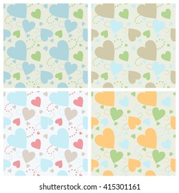 Seamless wall-paper hearts 1. A pattern multi-colored pastel hearts on a gray background. Vector, EPS10. A print for fabric, photowall-paper, a background basis for design.