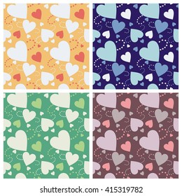Seamless wall-paper hearts 4. A pattern multi-colored pastel and bright hearts on a color background. Vector, EPS10. A print for fabric, photowall-paper, a background basis for design.