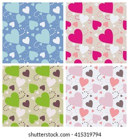 Seamless wall-paper hearts 5. A pattern multi-colored pastel and bright hearts on a color background. Vector, EPS10. A print for fabric, photowall-paper, a background basis for design.