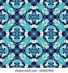 Seamless wallpaper with pattern in blue colors. Template of pattern for sample decoration