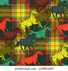 Seamless wallpaper pattern. The bright running beautiful horses on a checkered background. Textile composition, hand drawn style print. Vector illustration.