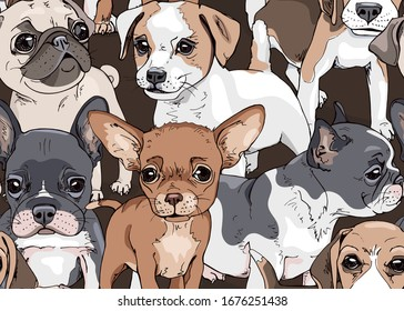 Seamless wallpaper pattern. Funny Cartoon puppies Characters. French Bulldog, Beagle, Jack Russell Terrier, Chihuahua, Pug. Textile composition, hand drawn style print. Vector illustration.