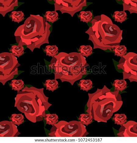 Seamless Wallpaper Pattern Red Roses Illusion On A Black Background Wedding Decorations