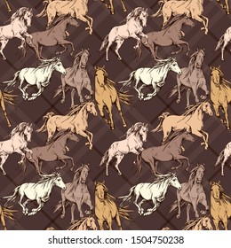 Seamless wallpaper pattern. The running beautiful horses on a brown checkered background. Textile composition, hand drawn style print. Vector illustration.