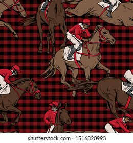 Seamless wallpaper pattern. The running beautiful horse and rider on a checkered background. Textile composition, hand drawn style print. Vector illustration.