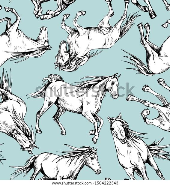 Seamless Wallpaper Pattern Running Beautiful White Stock Vector