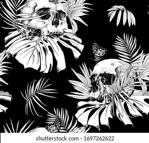 Seamless wallpaper pattern. Skull without lower jaw and Butterfly, exotic palm leaves. Textile composition, hand drawn style print. Vector black and white illustration.